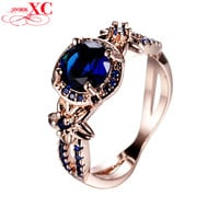 Classic Vintage Blue Sapphire Flower Rings For Women Wedding Jewelry 18K Rose Gold Filled CZ Diamond Ring Fashion Jewelry RY0333