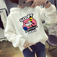 Goofy Mickey's Revue 1932 White Autumn Korean Kawaii Cartoon Lovely Hoodie Fleece Loose Womens Harajuku Goofy Pattern Pullovers