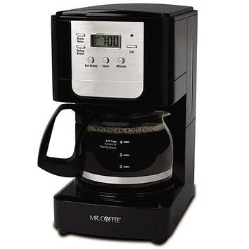 Mr. Coffee Advanced Brew 5 Cup Programmable Coffee Maker Black/Chrome Glass Carafe