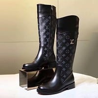 LV Louis Vuitton Trending Women Stylish Black Monogram Leather High Boot Heels Shoes