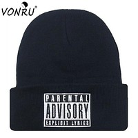 Letter Hat with PARENTAL ADVISORY EXPLICIT LYRICS Skullies Beanies Knitted Hats for Women Men Autumn Cap Mens Hat 1MZ0512