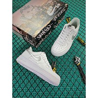 Nike Air Force 1 07 Af1 Low White Silver Fashion Shoes-1