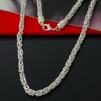 Special Offer 925 Sterling silver Byzantine Chain necklace classic jewelry 5mm Free Shipping