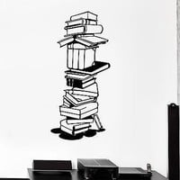 Wall Stickers Vinyl Decal Books Library Bookworm School Science Student Unique Gift (ig1592)