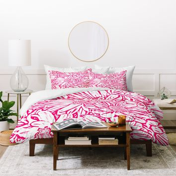 Lisa Argyropoulos Daisy Daisy In Bold Pink Duvet Cover