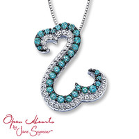 Open Hearts Necklace Blue & White Topaz Sterling Silver