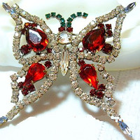"""Czech Butterfly Brooch Pin Red Green Clear Rhinestones Silver Plated Metal HUGE 3"""" Vintage"""
