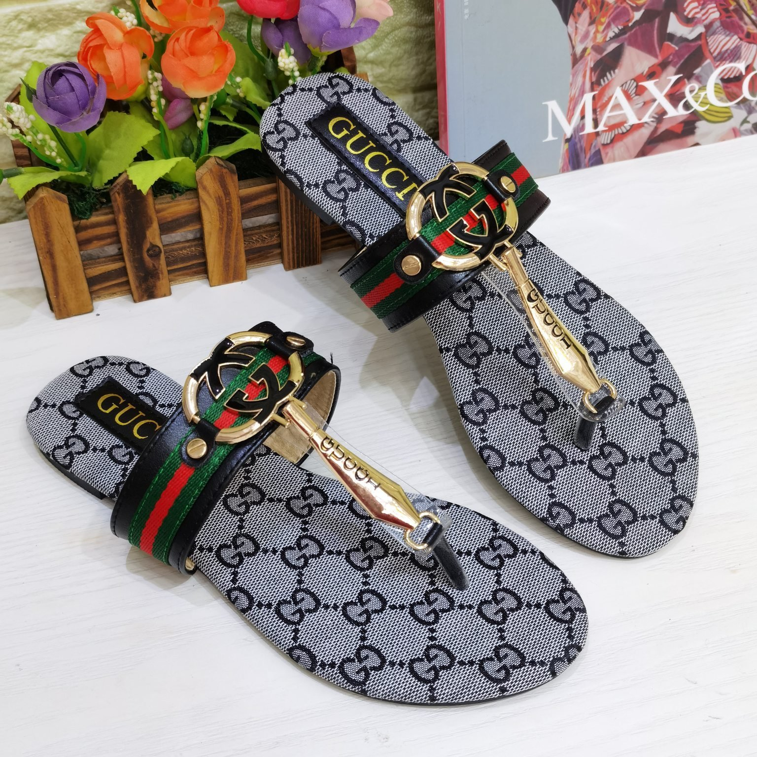Image of GG Summer New Women's Double G Flip Sandals Slippers Shoes