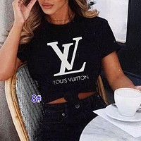 Onewel LV Louis Vuitton Trending Women Man Big Letters Simple Print Tee Shirt Top Black