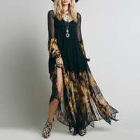 Black Floral Print  Long Sleeves Chiffon Maxi Dress