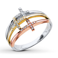 Diamond Cross Ring 1/8 ct tw Round-cut 10K Gold/Sterling Silver