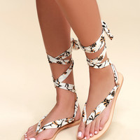 Oceano Natural Print Lace-Up Thong Sandals
