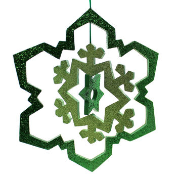 Christmas GLITTERED SNOWFLAKE Plasitc Three Dimentional Hanging 6642 Green