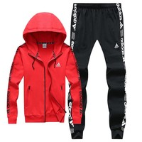 ADIDAS autumn and winter new trend casual sportswear two-piece Red