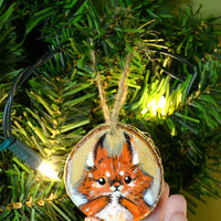 Red Squirrel Hand Painted Birch wood Ornament Holiday