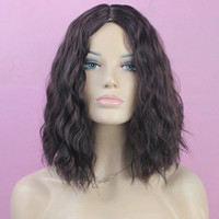 Western Style Fluffy Light Brown Medium Deep Wavy Kanekalon Synthetic Wig For Women