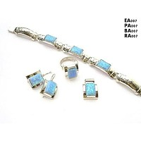 Opal Silver Jewelry Set 4 Pieces
