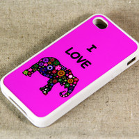 i Love Elephant iPhone 4 iPhone 4S Case, Black Rubber Material Case