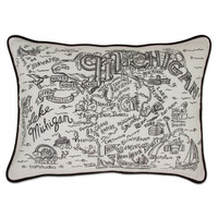 Michigan Black and White Embroidered Pillow