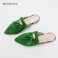 Women flat mules shoes pointed toe slides sandals big size 2017 summer genuine leather with fur pearls slip on shoes size 34-43