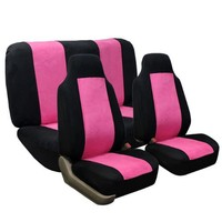FH-FB105112 Classic Suede Car Seat Covers Pink / Black color Airbag Compatible and Rear Split