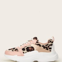 Lace-up Front Leopard Sneakers