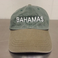 Vintage 90's Bahamas Retro Strapback Dad Hat Tourist Hat Green Light Brown Brim Made By Dorsett Tee's