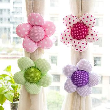 Curtain Clasps Clip Buckle Flexible Curtain Tieback Holdback Holder Cute Cartoon Flower Home Decor curtain clip curtain rope