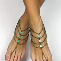 Mint Green Bohemian Anklet Barefoot Sandals