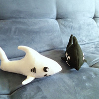 Plush Shark (small size, black or white felt plushie)