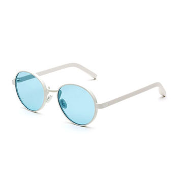 Super by Retrosuperfuture Matte Round Sunglasses, Blue/White