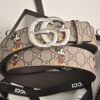 GG mens and womens double G letter buckle smooth buckle belt-7