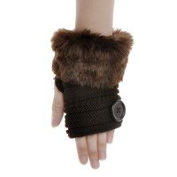 ZLYC Women Teen Classic Faux Fur Hands Wrist Fingerless Stretchy Knit Gloves with Button