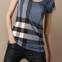 Burberry - RAW EDGE TONAL CHECK T-SHIRT
