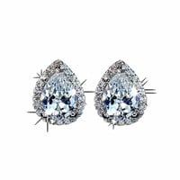 U Fashion Water Drop Design Top Quality Earrings Cubic Zircon Stud Earring