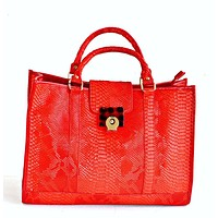 Brooke Red Top Handle Faux Leather Handbag