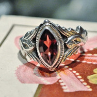 Majestic Swan Garnet Ring 925 Sterling Silver Native American Navajo Southwestern Western Artisan Hand Crafted Cherry Red Garnet Marquise 6