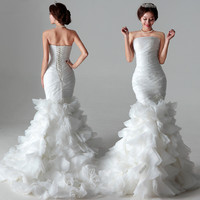 Mermaid Scoop Strapless Court TrainOrganza Tiered Wedding Dress # 6009878