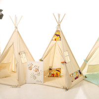 Kids nursery teepee cotton house. Wood kids bed house. Children bed house .Play wood house.Play wooden house bed.Kids teepee,enfant tipi bed