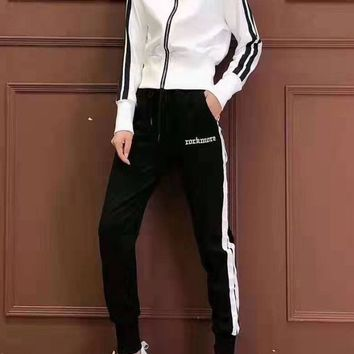 Woman Leisure Fashion Letter Embroidery Printing Zipper Stripe Long Sleeve Trousers Two-Piece Set Casual Wear