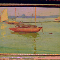 Antique Oil Painting Seascape Attributed to James Abbott McNeill Whistler, Antique Art Original Oil Painting Ship, Boat Painting