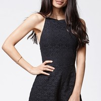 Kendall & Kylie Lace Scallop Hem Romper - Womens Dress - Black