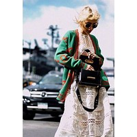 "Hot Sale ""Gucci""Autumn Winter Popular Women Gold Wire Crochet Buttons Cardigan Knitwear Cardigan Jacket Coat Green I/A"