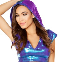 Blue/Purple Holographic Short Sleeve V Neck Hoodie