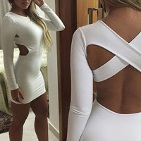 White Long Sleeve Cross Back Mini Bodycon Dress