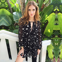 Chiffon Sexy Print V-neck Long Sleeve One Piece Dress = 5861876929
