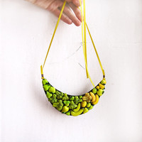 Necklace Happy Vegetables yellow and green,  statement necklace, vegetables jewelry