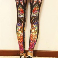 holly mary  jesus church print legging from mancphoebe