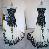 Strapless Mermaid Black Apliqque Prom Dresses