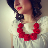 50% OFF Mothers Days SALE red rosette necklace Mothers day statement bib necklace wedding bridesmaid spring